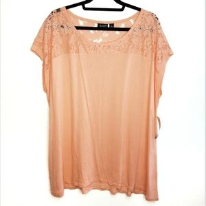 NWT a.n.a. peach sorbet lace inset blouse size 2X
